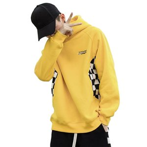 Wholesale free shipping Men Cotton Plaid Patchwork Hooded Pullover Drop Shoulder Hip-Hop Harajuku Clothing Plus size 2XL