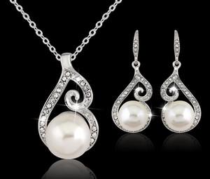 2016 nuove donne di cristallo collana pendente ciondolo gioielli orecchino set 925 gioielli in argento collana a catena 12pcs vendita
