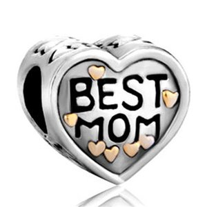 Fashion women jewelry I love mother mom golden heart Wholesale 10pcs European spacer bead large hole charms for beaded bracelets