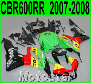 Bodykits populares para moldeo por inyección HONDA CBR600RR 07 08 carenados CBR 600RR F5 2007 2008 negro amarillo REPSOL kit de carenado de plástico KQ99