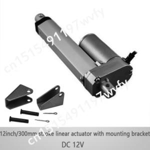 DC12V 12 inç / 300mm 1 takım montaj braketleri ile mikro doğrusal aktüatör, 1000N / 100kgs yük 10 mm / sn hız lineer aktüatörler su geçirmez