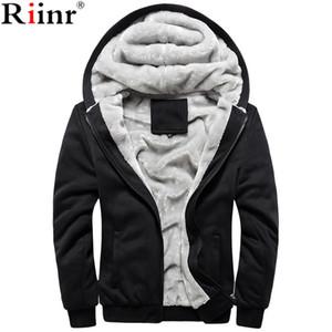 Toptan-Riinr 2017 Yeni Sıcak Satış erkek Kapşonlu Casual Marka Hoodies Yün Astar Mens Kış Kalınlaşmış Sıcak Ceket Erkek Tişörtü Dış Giyim