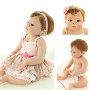 """Venta al por mayor- Bebe Reborn Victoria Girl Dolls 22 """"Cuerpo completo de silicona Muñecas para niños para niños El regalo puede entrar en agua Bonecas Brinquedo Menino"""