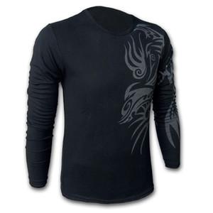 il trasporto maglietta stile europeo ed americano Tatuaggio del drago manica lunga poloshirt di marca per gli uomini All'ingrosso-libero, Mens O-collo Moda T-shirt