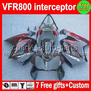 VFR800 Für HONDA Interceptor VFR800RR 98 rot schwarz 99 00 01 02 03 04 12 90HM11 VFR 800 RR 1998 1999 2000 2001 2002 2003 2004 2012 Verkleidung