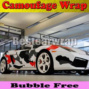 Rosso bianco nero artico Camo Vinyl Wrap Film con Air Rlease Gloss / Matt Snow Camouflage Pixel Car Sticker 1.52x30m / Roll (5x100ft)