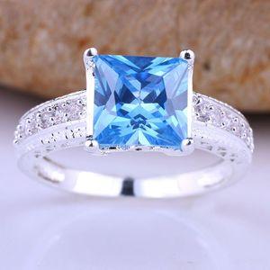 New Royal Ladys Princess Cut Blue Topaz Autentico anello in argento sterling 925 Taglie di fidanzamento Colori per la scelta Servizio di incisione disponibile