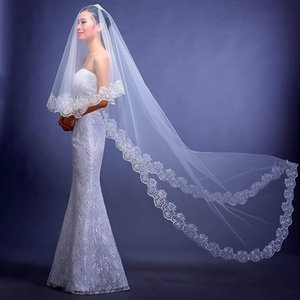 Hot ! Free Shipping In Stock 2.8 m Two Layers Lace Appliqued Vintage Wedding Veils 2015 New Arrival Bridal Accessories Bridal Veils