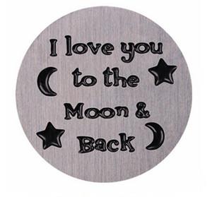 20 pz / lotto piatti della finestra galleggiante in acciaio inossidabile timbrato ti amo alla luna indietro misura per medaglione magnetico in vetro da 30 mm