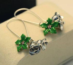 Creative 48mm Long Earrings Fashion Christmas Bells Green Leaves Alloy Enamel Ms. Ring Earrings 30 pairs free shipping