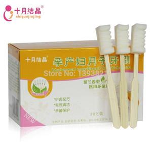 Livraison gratuite jetable poignée en bambou brosse à dents puerpérale menthe verte brosse à dents de maternité brosse à dents puerpérale 30pcs / boîte