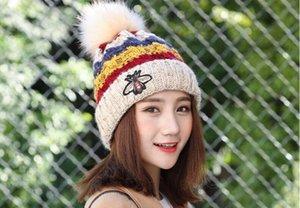 Sıcak lady kadın Kış Kasketleri Kafatası Kapaklar Faux Kürk Topu Beanie Örme Yün Şapka Örgü Şapka Sıcak Rahat Kap ADEDI 60 adet