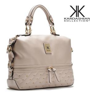 Wholesale-Kim kardashian kollection kk omuz çantası tasarımcı marka çanta 2015 çanta kadın perçin moda kova altın zincir messenger çanta