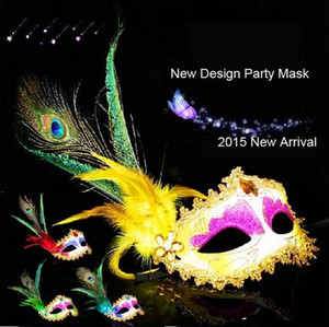 Elegante venezia piuma di pavone maschera festa di halloween masquerade palla mezza faccia sexy maschera mascherata festa danza maschera per le donne