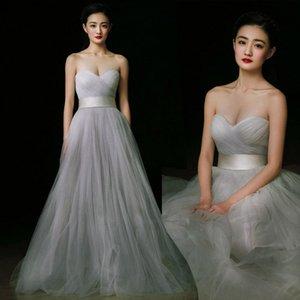 Tulle cinza claro vestidos de baile formal querida Strapless vestidos de baile vestidos longos à noite usa vestidos baratos de dama de honra em estoque