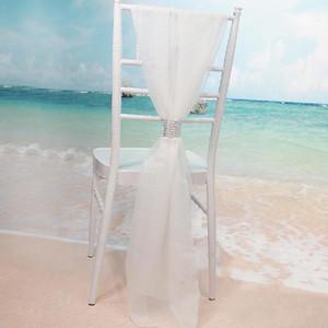흰색 Slub Chair Rash Sashes with Rows 다이아몬드 쉬폰 섬세 웨딩 파티 연회 장식 의자 커버 무료 배송
