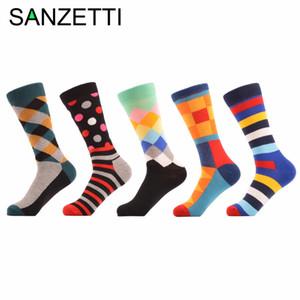 Atacado-SANZETTI 5 par / lote homem colorido engraçado impressão meias respirável Primavera Outono Meias Happy Socks