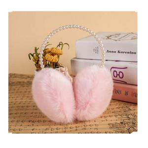 Wholesale-Autumn Winter Women Warm Fur pearl Earmuffs Girl's Earlap Ultralarge  Hair Earflap Ladie's Cute Eartab Plush Ear
