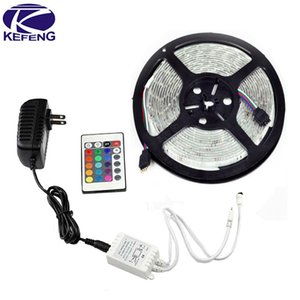 Wholesale-3528 Led Strip RGB Waterproof SMD 300 LEDS diode 5M IP65 tape set + 24 Keys IR Remote Controler + 12V 2A power adapter Discount