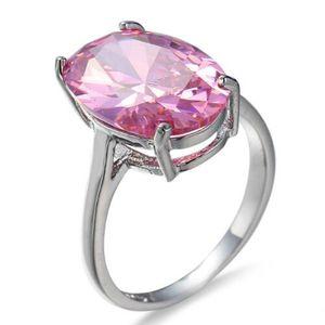 LuckyShine Mode OL feu rose ovale Kunzite 925 anneaux en argent sterling plaqué femmes Zircon Mariages Engagemens Bijoux Les bagues