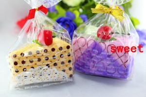 10 adet 30 cm * 30 cm Mini Üçgen Kek Havlu Mix renk Sevimli Tasarım Küçük Fular Havlu Düğün hediyesi Bebek duş hediye hediyelik eşya