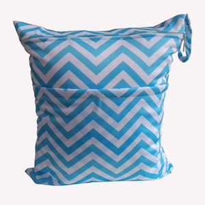 Baskı Fermuarlı Chevron Bez Bezi çanta Bebek Çamaşır Islak ve Kuru Çanta Bez Bezi Çanta Islak 26 farklı WetBag 33 * 28 cm