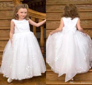 2016 Nova Elegante Lace White Flower Girl Dresses Tripulação Sem Mangas Organza Lace Applique Sash Flower Girl Dresses