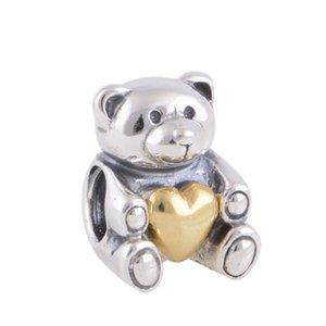 100% 925 Sterling Silver Bear My Heart con el corazón de oro Bead Se adapta a las pulseras de joyería de Pandora europeas