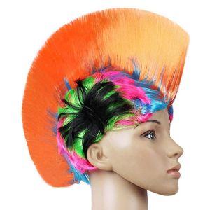 Rainbow Mohawk Hair Wig Gallo Fancy Costume Punk Rock Halloween Party Decor