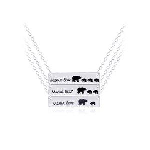 Mama Bär Bear Cub Anhänger Halskette Frauen Gold Silber Legierung Anhänger Modeschmuck Mütter Tag Geschenke