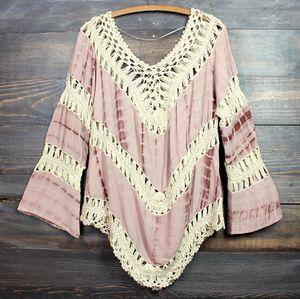 2015 Donna Sexy Summer Beach dress Deep V Neck Crochet Dress Manica lunga Scava Fuori Swimwear Bikini Cover Up Lace Crochet V-Neck Shirt