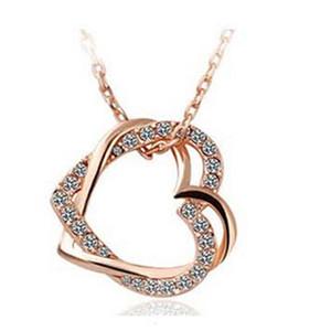 Luxe Personnalisé Colliers Double Coeur Conception Colliers pour Femmes Cristal Décoration Meilleur Pendentif Colliers En Ligne B128
