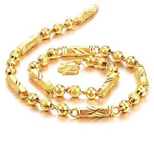Fast Free Shipping Fine Wholesale - 24k Yellow gold filled necklace factory direct,length:55cm ,weight:45g