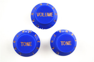 Blue 1 Volume & 2 Tone Lot Electric Guitar Control Knobs For Fender Strat Style Electric Guitar Free Shipping Wholesales