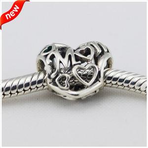 Serve para Charms Pandora Pulseira 925 Sterling Silver Bead Openwork Amor Mum Charme Mulheres DIY Fazer Jóias