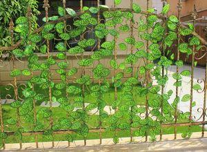 Flor Artificial hoja de seda de grado superior para valla, hojas de planta artificial balcón ventana, canal de aire acondicionado Decoración Garland decoración