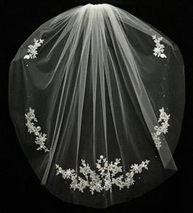 Düğün Aksesuarları Velos De Novia Parmak uçları Dantel Boncuk Gelin Aksesuarları 2020 Kısa Gelin Veil Moda Beyaz / Fildişi Ucuz Düğün Veil