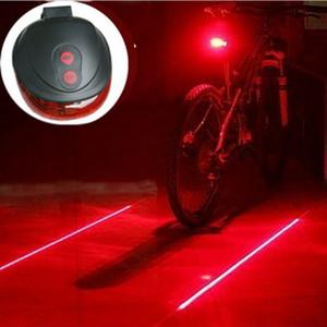 Venta al por menor 5 LED + 2 Laser Cycling Safety Lámpara trasera de la bicicleta a prueba de agua Bicicleta Laser Tail Light Faros de advertencia de la lámpara Flashing Caution 2 colores