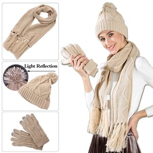 Soft Knit Hat Scarf Gloves Set, Women Coloful Cable Knit Hats Winter Cold Weather Gift Set