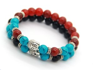 Wholesale New Design Men or Women 8mm Beaded Natural Agate Stone Beads Buddha Meditation bracelet