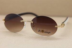 2020 Black Natural New Driving White Sunglasses Horn Frame Sunglasses Round Samll T8307003 Rimless Mix Glasses Diamond Size:56-18-140mm Ggpq