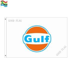 GULF logo flags banner tamaño 3x5FT 90 * 150 cm con ojal metálico, bandera exterior