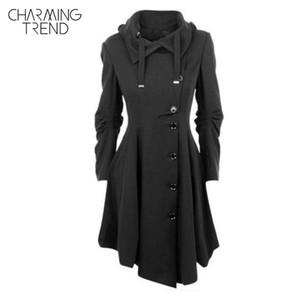 도매 - Charmingtrend 자 켓 2017 여성 새로운 가을 단단한 검은 색 폴드 오버 칼라 비대칭 헴 단일 브레스트 여성 Outerwear