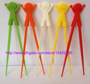 200 pares de Pauzinhos De Plástico Crianças Crianças Aprendizagem Helper Treinamento Aprendizagem Brinquedo De Plástico Feliz Pauzinho Fun Bebê Infantil Iniciante