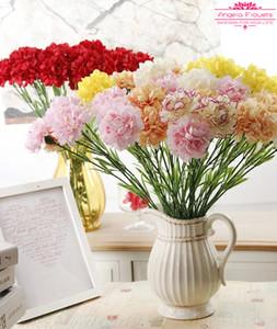 Envío gratis 11 unids / lote 50 cm 6 colores carntion seda flor decorativa artificial para el Día de la Madre Regalos y decoración de la mesa del hogar