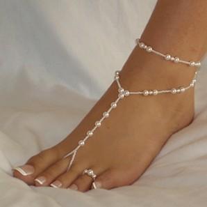 Hotsale HANDMADE contas de vidro não PLÁSTICO sandbeach sandálias com os pés descalços, praia de noiva de noiva jóias Elastic tamanho 40 pçs / lote FRETE GRÁTIS