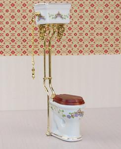 Maison de poupée de toilette en porcelaine de salle de bains de style victorien vintage miniature blanc + or