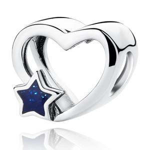 NEUE authentische S925 Sterling Silber Schmuck Valentinstag Blue Star Emaille Openwork Charm Bead Fit Original DIY Armbänder Zubehör