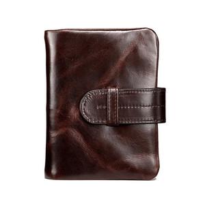 Yeni yüksek kalite erkek yağ mumu hakiki deri tasarımcısı cüzdan erkek vintage gizle katman inek deri sıfır çantalar no338