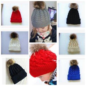 Inverno Mamma Donna Bambino Bambini Ragazza Ragazzo Neonato Crochet Cappelli lavorato a maglia Skull Caps Lana Palla di pelliccia Pompon Berretti Cappello KKA3203